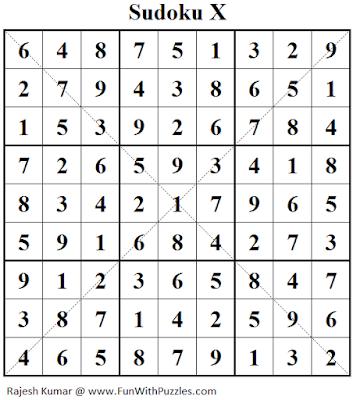 Sudoku X (Fun With Sudoku #147) Solution