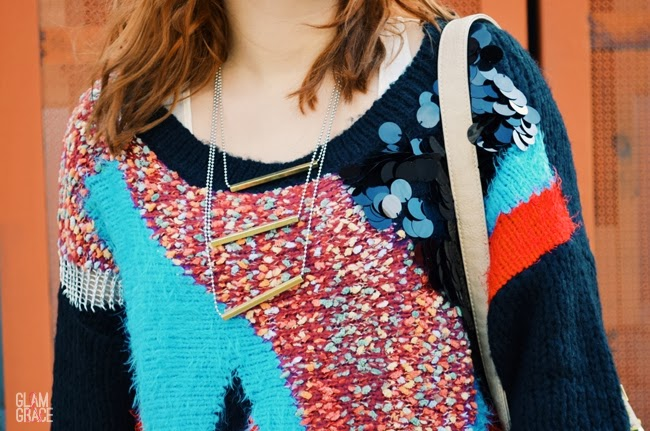 Nastygal oversized sweater - geometric & sequin
