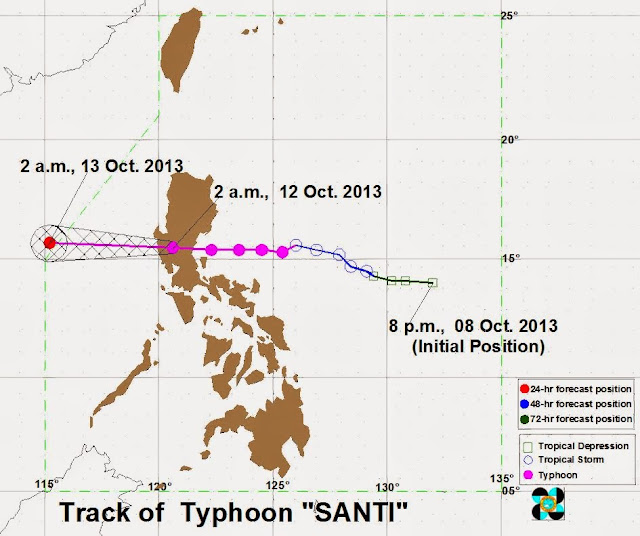 Track of Typhoon October 12, 2013