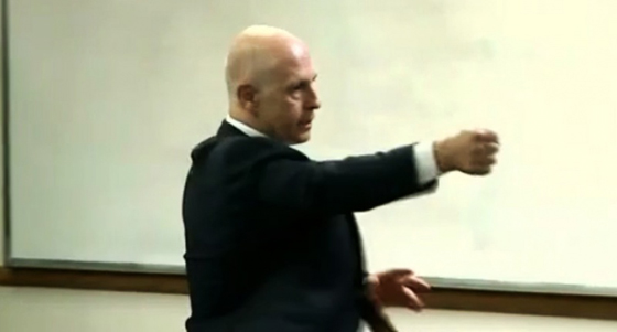 Dr. William J. Lewinski demonstrating techniques to LAPD officers - Screenshot