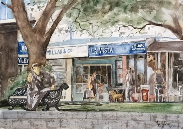 Wonderful Watercolor  Painting of  St Heliers, Auckland Historic Seaside village, 29.5x42cm