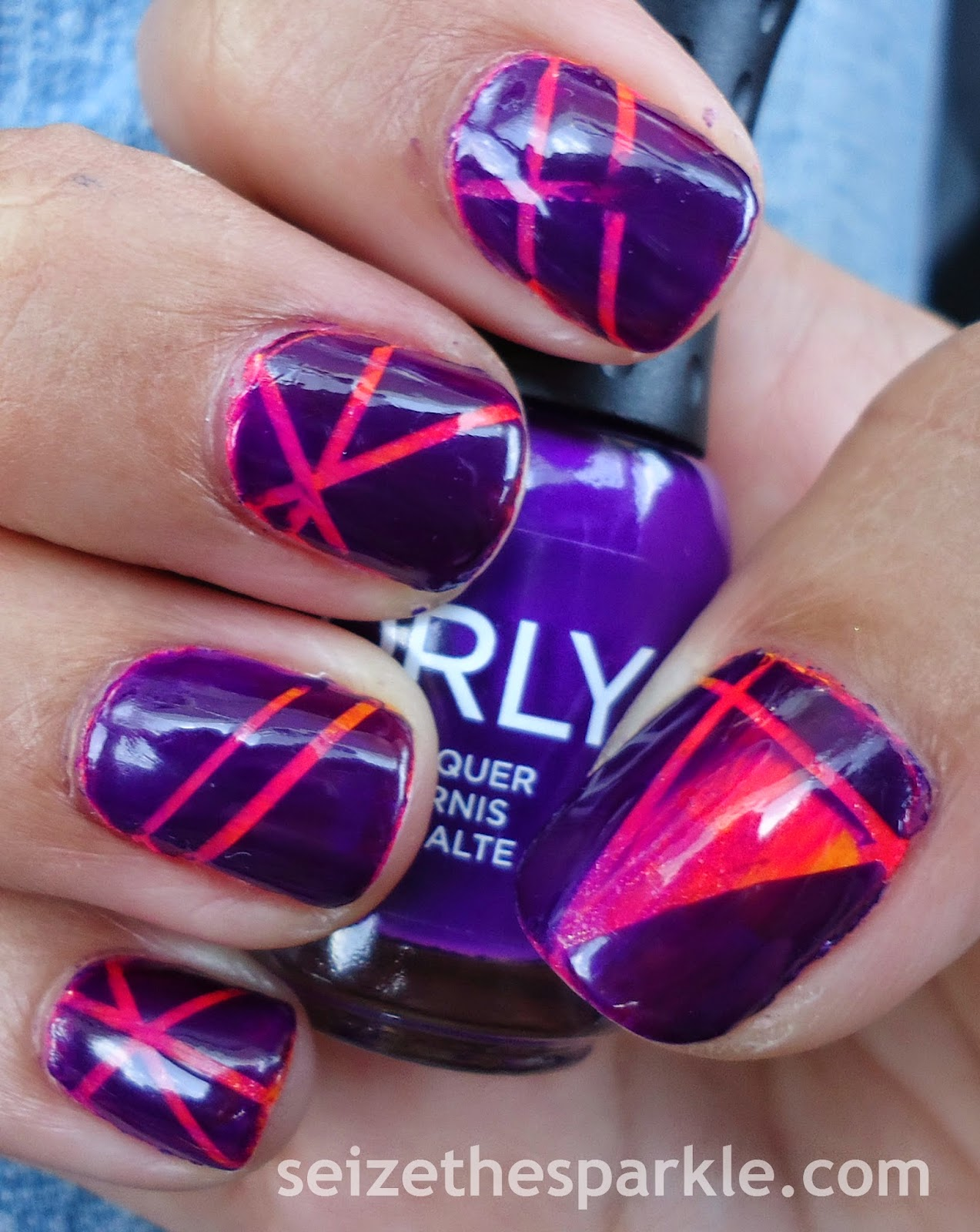 Orly Saturated Neon Striping Tape Manicure