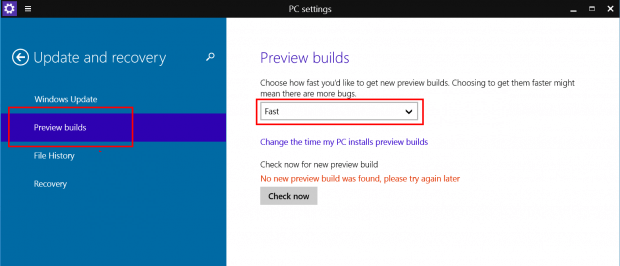 windows 10, version, download windows 10, settings, Update and Recovery, Preview builds, fast