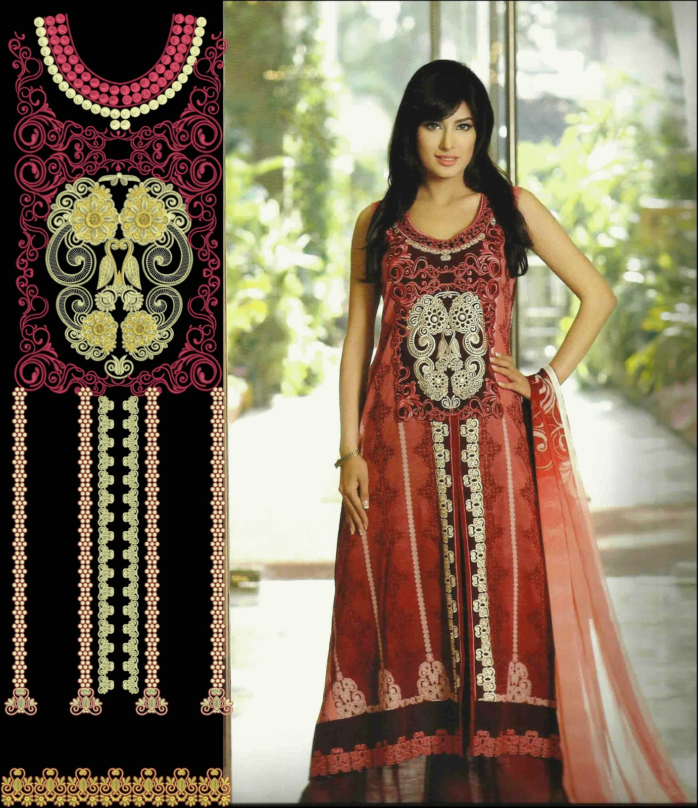 Latest Embroidery Designs For Airline Frocks Salwar Kameez 2015