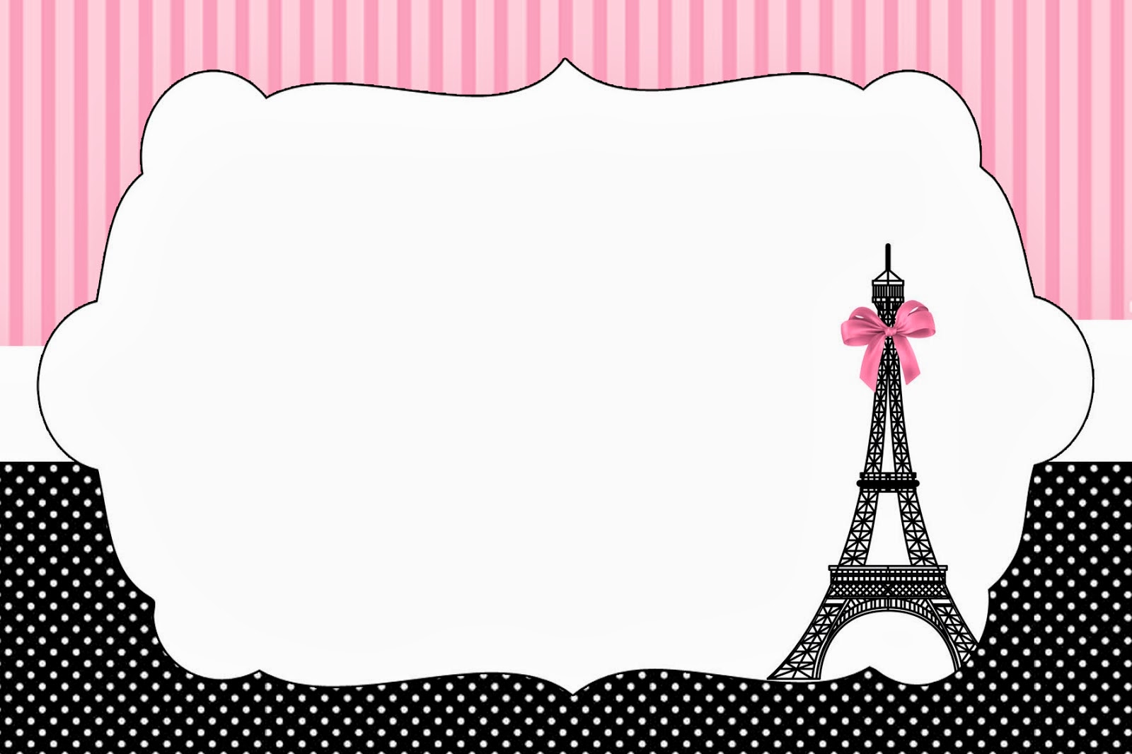 Free Paris printable happy birthday banner. This x7-inch bunting banner features pink and white stripes spelling out Happy Birthday, as well as 2 banners with Eiffel tower images. This is a great addition to any Paris themed girl's birthday party.