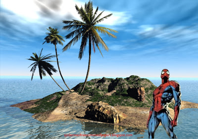 Spiderman desktop Wallpaper standing walking tall at 3D Island