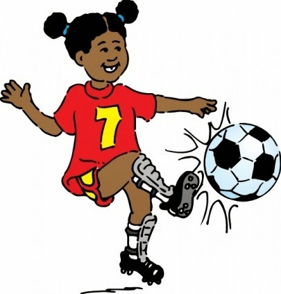 Jeune fille jouant football - freebievectors