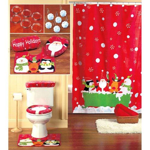 Cortinas De Baño Navidenas:Christmas Bathroom Set