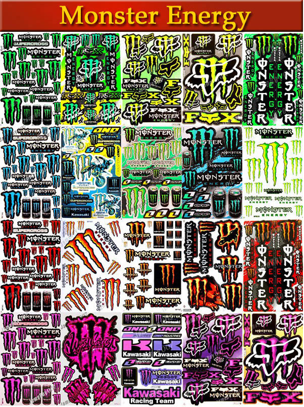 monster energy stickers autocollants pegatinas adesivi. Black Bedroom Furniture Sets. Home Design Ideas
