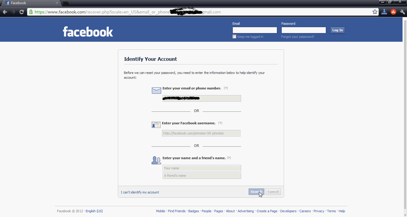 how to open my facebook account with old password