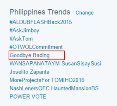 'Goodbye Bading' trends on Twitter Philippines