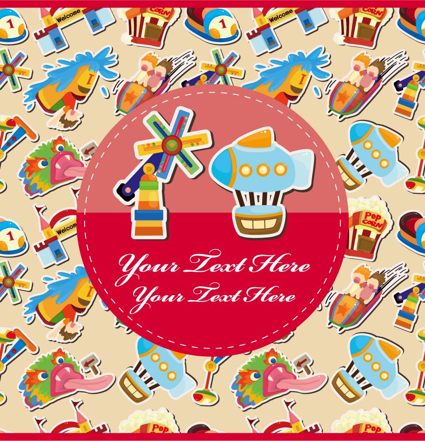 シームレスな遊園地パターンの背景 Cartoon roller coaster background イラスト素材