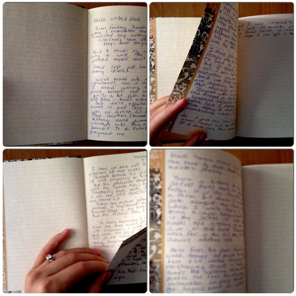written pages in a journal