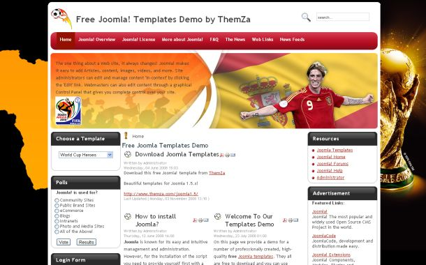 Free World Cup Soccer Joomla Theme Template