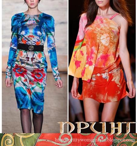 Мода 2013 Принтове - Щампи на цветя, Рисувана коприна