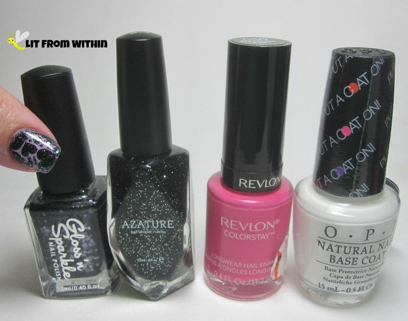 Bottle shot:  Gloss 'n Sparkle Lead Paint, Azature Black, Revlon Passionate Pink and OPI Put A Coat On!