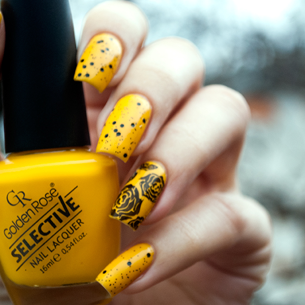 Golden Rose Selective 58 + Nubar Black Polka Dots + stamping