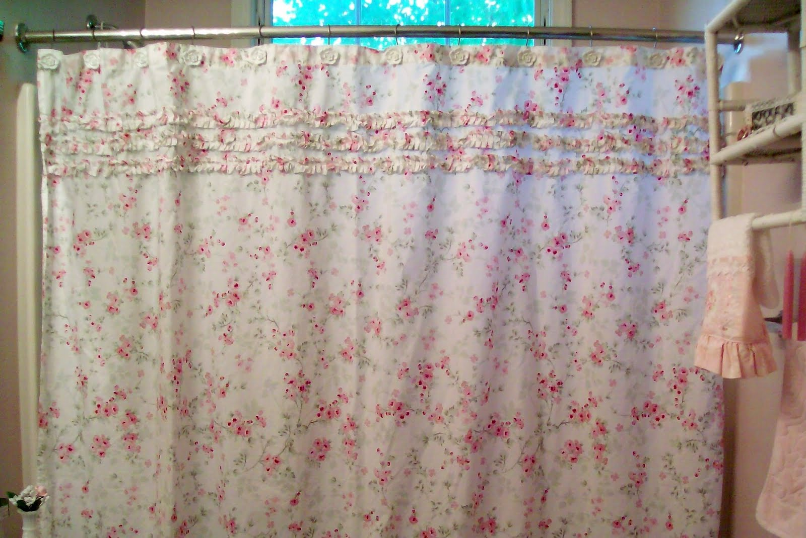 chambray curtain shower curtains tiered rose with ruffles roses two