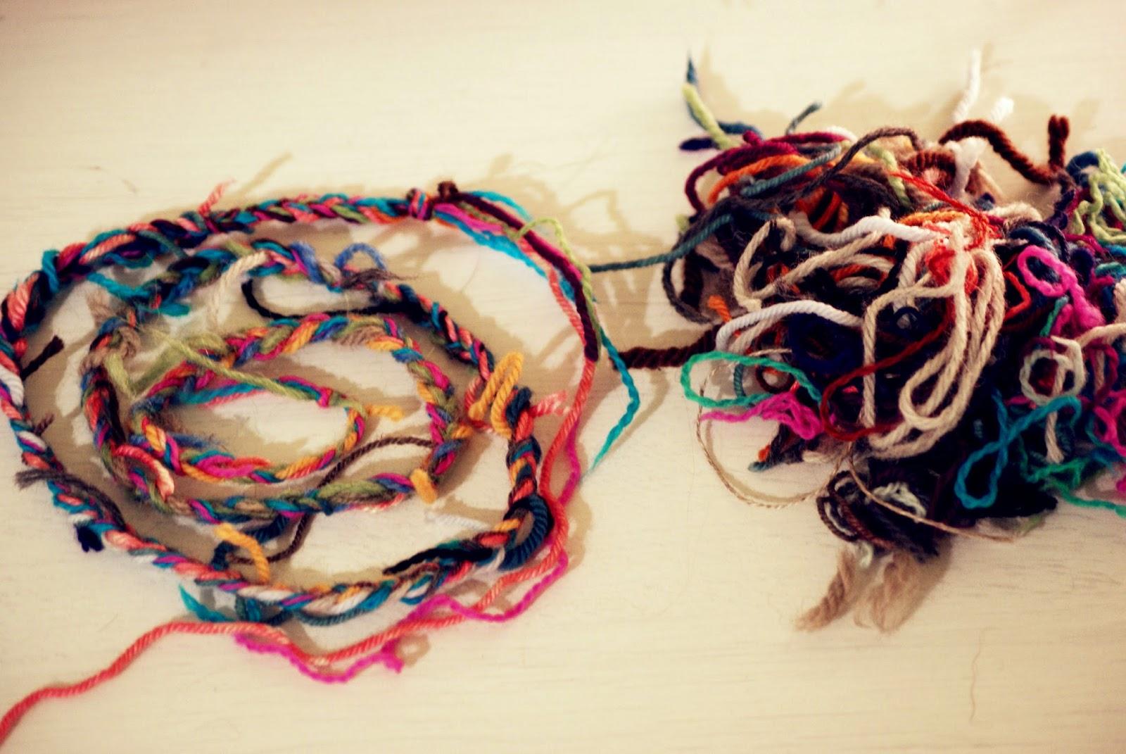 bouts de laine tressés