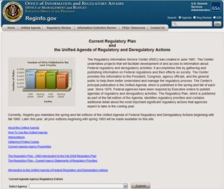 Unified Agenda of Federal Regulatory and Deregulatory Actions (Credit: www.gsa.gov) Click to enlarge.