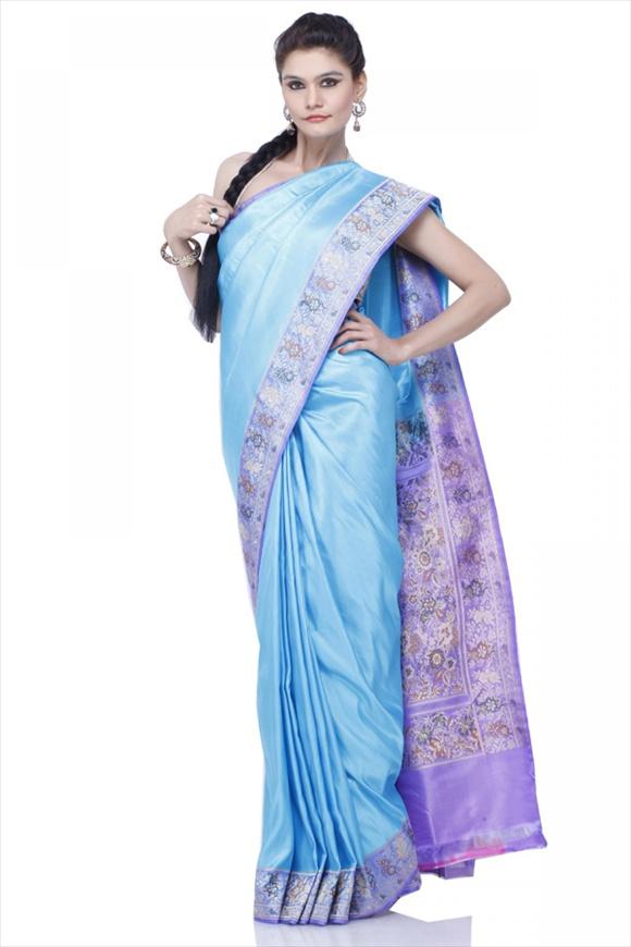 Sky Blue Satin Banarasi Saree