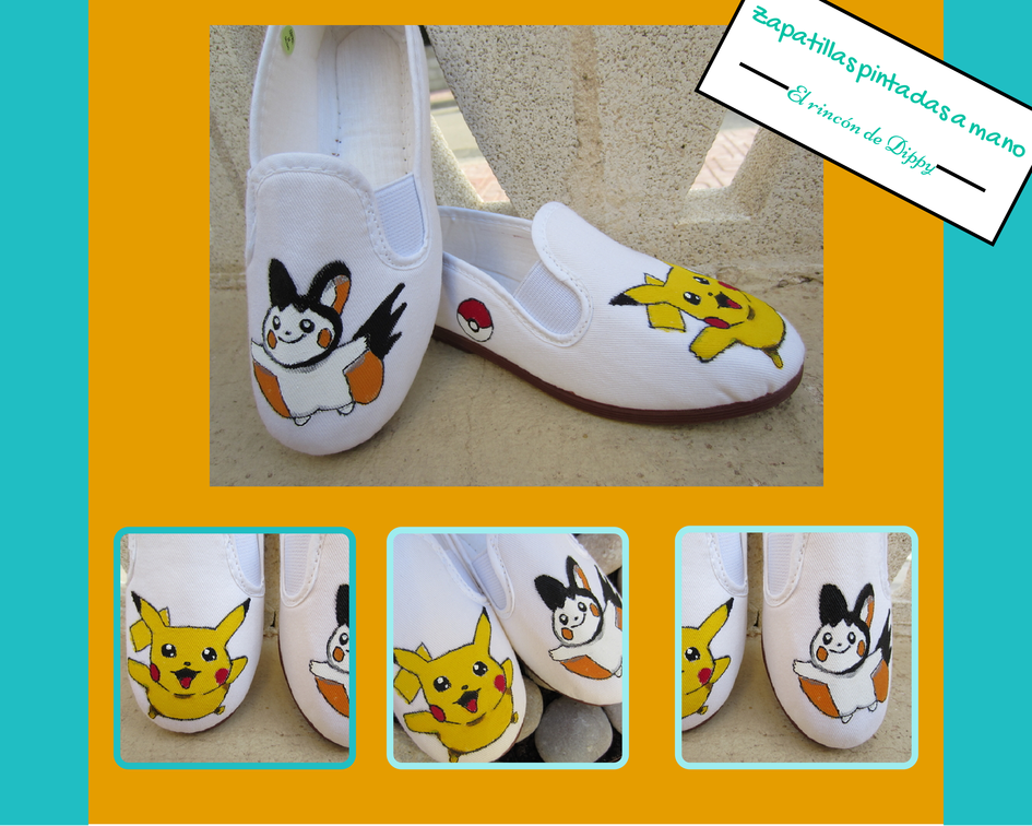 zapatillas pokemon: Pikachu y Emolga