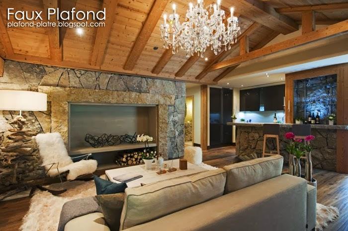 Faux plafond en bois for Faux plafond platre et bois