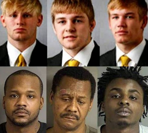 These men were charged with the same crimes. But for the whites, an Iowa newspaper used their yearbook photographs, while they used mugshots for the blacks.