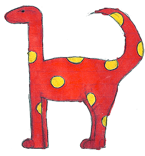 Dino dinosaur red with yellow polka dots free download
