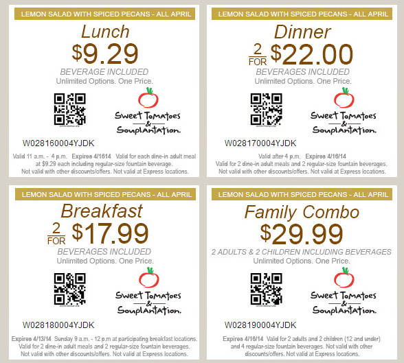 Nov 21,  · Sweet Tomatoes and Souplantation share a name, so if you live in the part of the country with Souplantation locations, you can still use these coupons. HOURS & SPECIALS Sweet Tomatoes is a lunch and dinner establishment, generally opening at 11am and closing at 9pm.