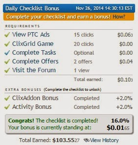 Clixsense offers up to 16% earnings bonus for completing checklist