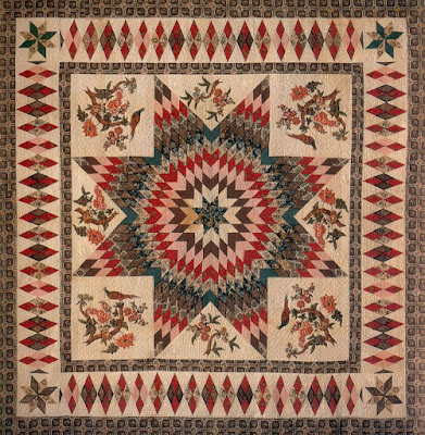 Lone Star with Broderie Perse African American Slave Quilt