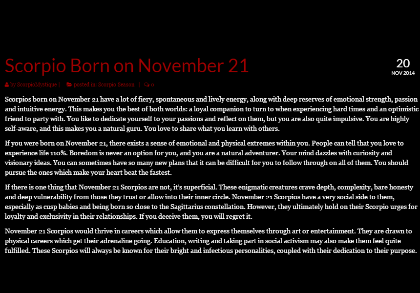 November 21 Birthday Horoscope Personality | Sun Signs