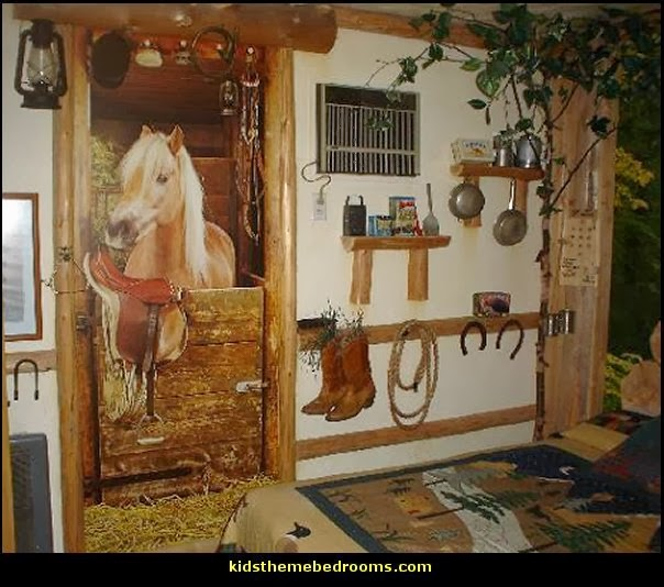 horse stable wall mural-horse barn wall_mural-horse_bedding_girls-horse theme bedroom decorating ideas