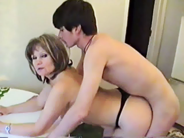 Mom son having sex on table