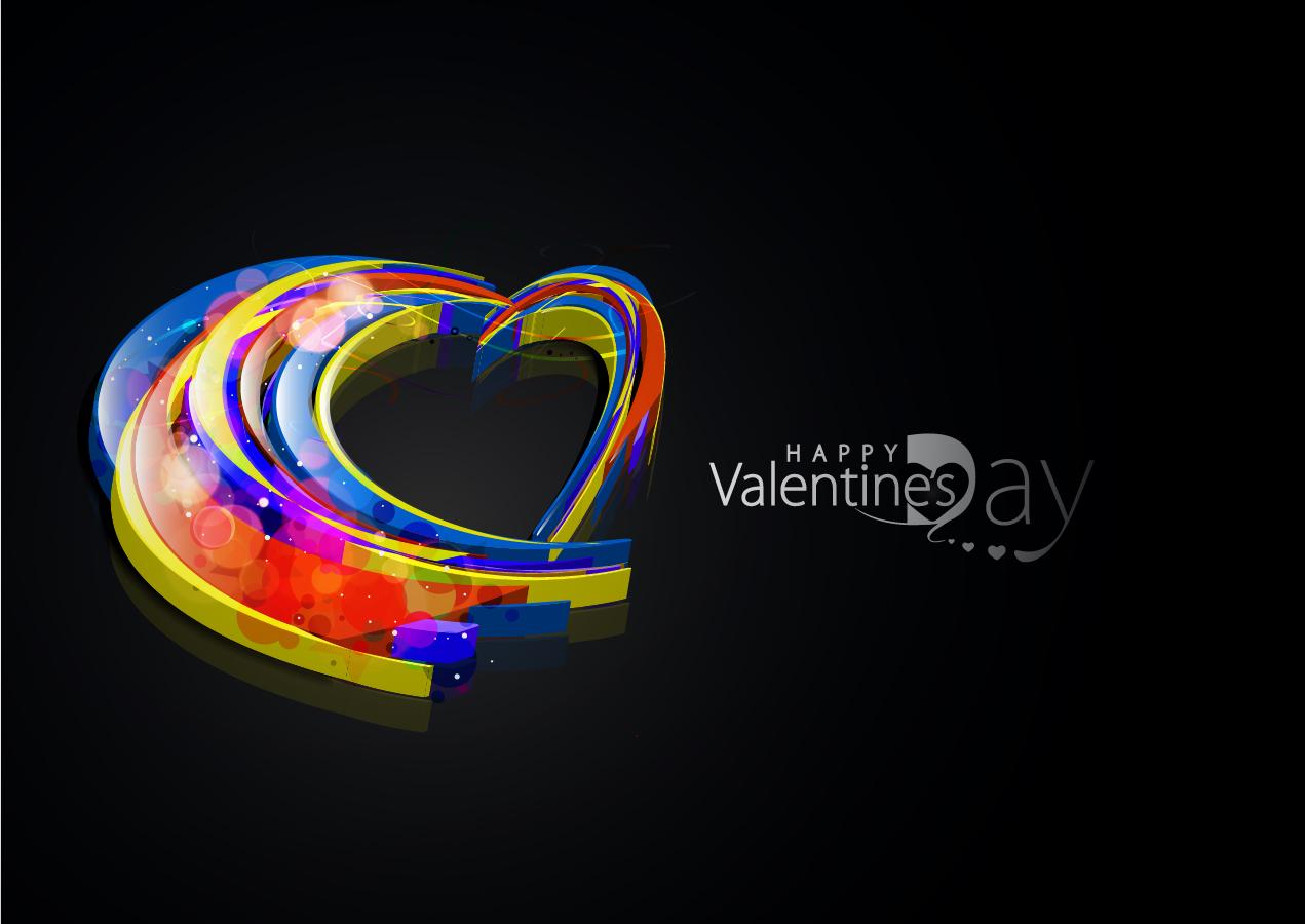 虹色の光で描くバレンタインデーの背景 Heart symphony of love valentine day イラスト素材1