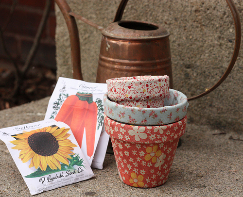 4 You With Love: How To Decoupage Terra Cotta Pots with Fabric
