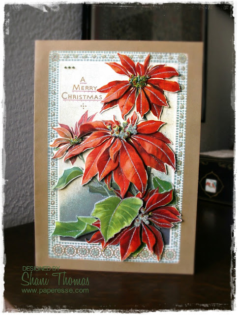 Anita's Ultimate Christmas Card A4 Glitter Decoupage 3D Nostalgic Poinsettia kit