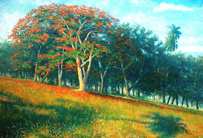 Cuadro de paisaje cubano con flamboyan