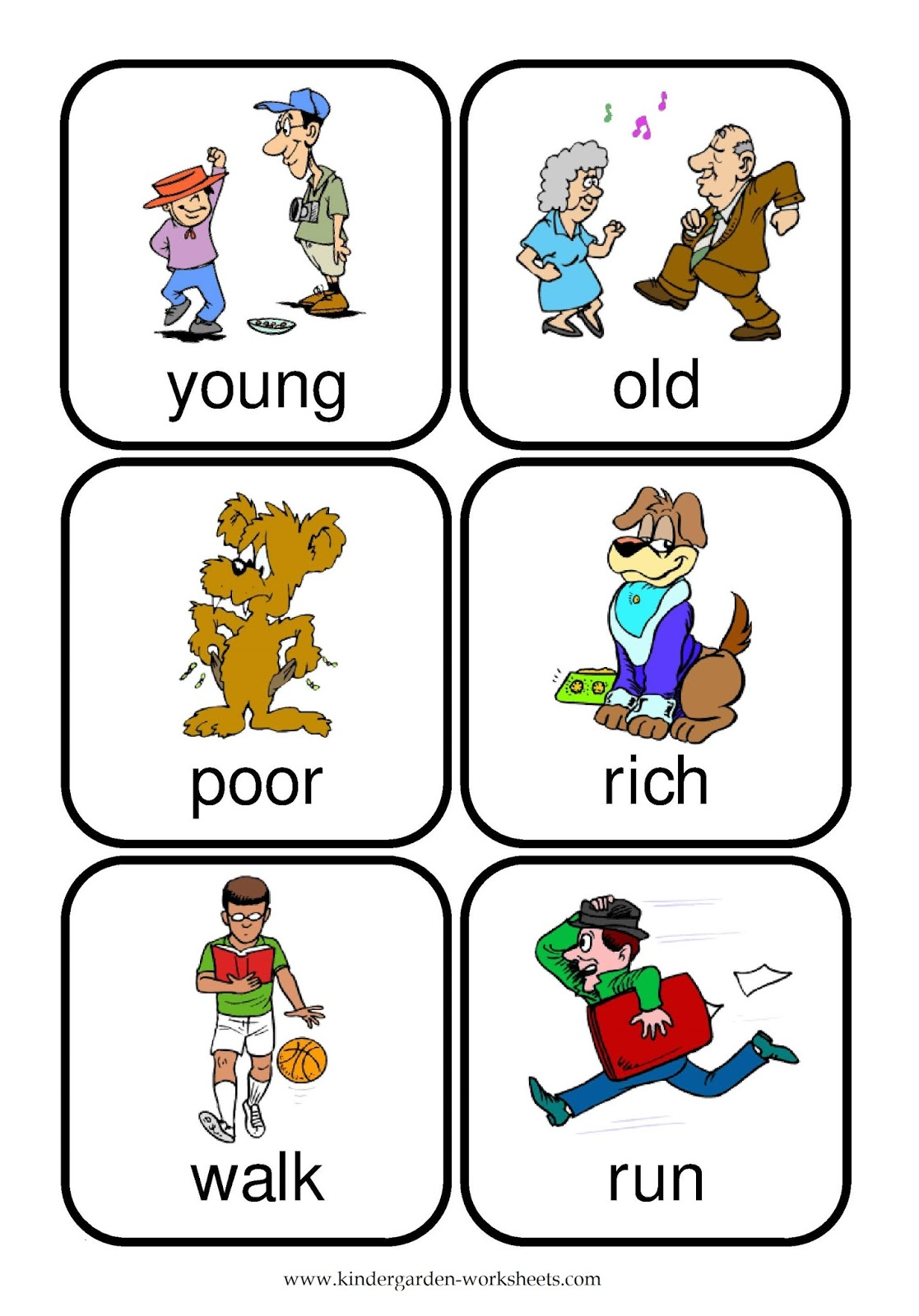 Kindergarten Worksheets Flashcards Opposite Words – Kindergarten Opposites Worksheet
