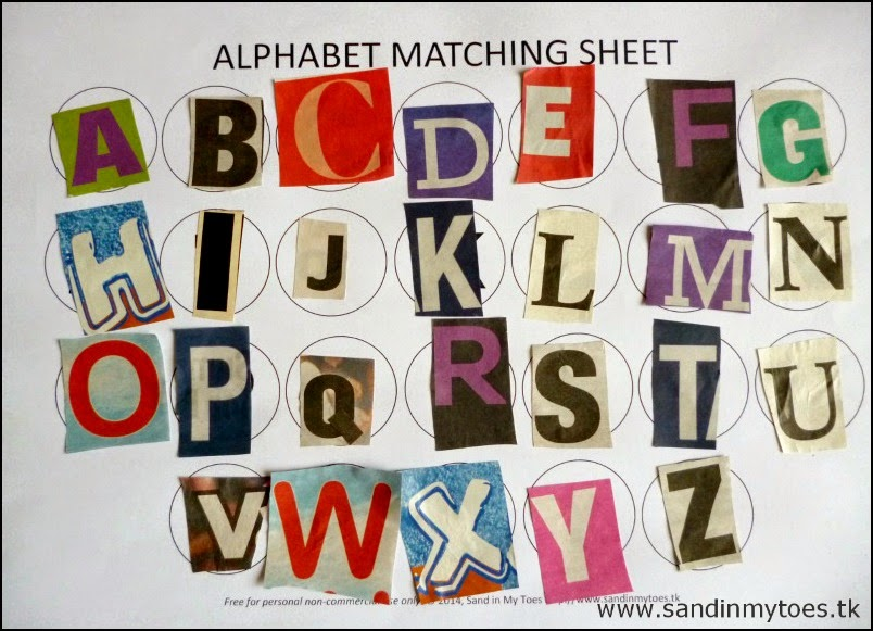 Completed Alphabet Matching Sheet with Letter Cut-Outs