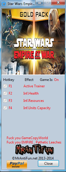 Star Wars Empire At War V1.05 Trainer +3 MrAntiFun