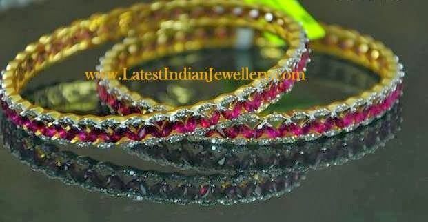 Exquisite Diamond Ruby Bangles