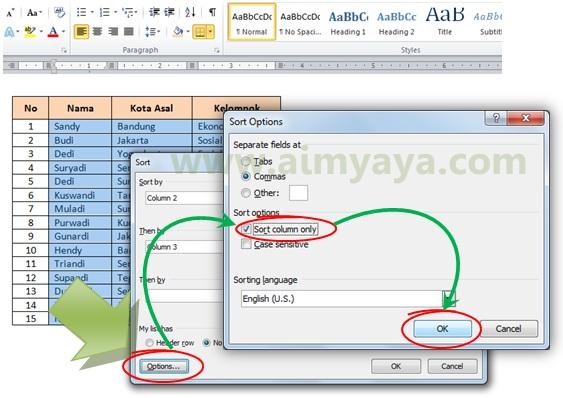 Gambar: Cara mengurutkan  data hanya kolom tertentu dengan memanfaatkan fasilitas Sort Options