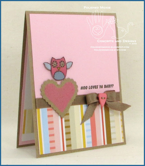 Picture of the front of my handmade owl card facing right.