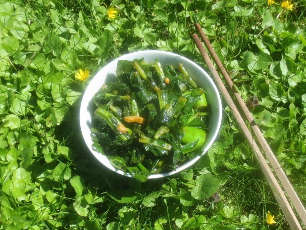 Senfgrün, kurz durchgewokt, Senfgrün aus dem Wok