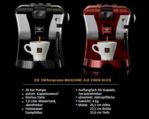 100 espresso kaffee kapsel zu 100 espresso maschine. Black Bedroom Furniture Sets. Home Design Ideas