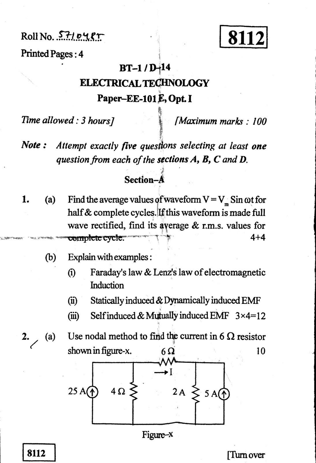 BTECH PREVIOUS YEAR QUESTION PAPERS KUK Electrical Technology 2014