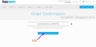 16 Berhasil, Anda akan dikirim e-mail order domain gratis yang Anda pilih (karyafikri.blogspot.com)