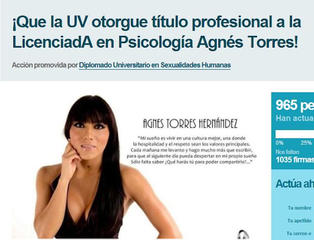Rechaza Universidad otorgar título a Agnes Torres